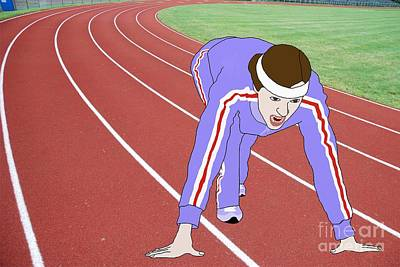 Tennis Shoe Drawing - Running Track by Priscilla Wolfe