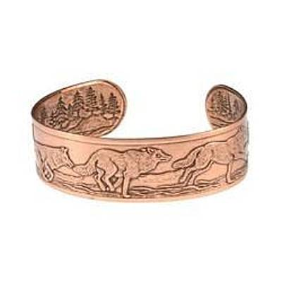 Wolves Jewelry - Running Wolves Copper Bracelet - Jewelry by Raven SiJohn