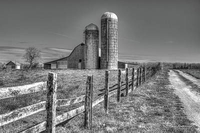 Rural America 2 Barn And Silos Tennessee Print by Reid Callaway