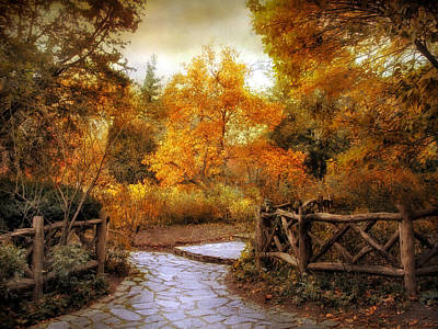 Red Leaf Digital Art - Rural Autumn Entrance by Jessica Jenney