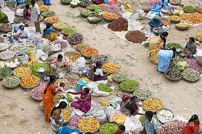Rural Indian Food Market Print by Tim Gainey