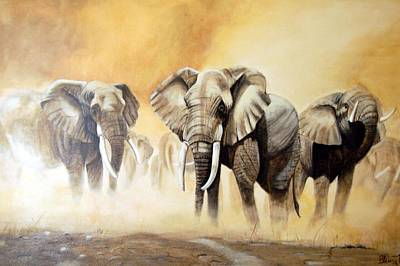 Elephant Painting - Rush by Blima Efraim