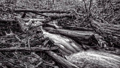 Photograph - Rushing Stream - Bw by Christopher Holmes