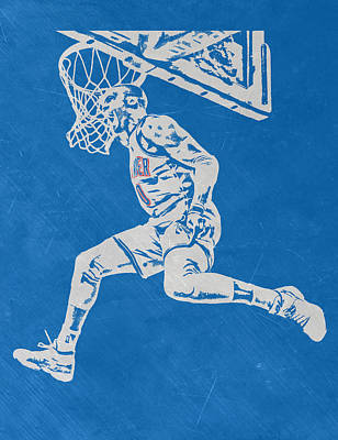 Russell Westbrook Scratched Metal Art 1 Print by Joe Hamilton
