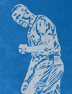 Russell Westbrook Scratched Metal Art 4 Print by Joe Hamilton