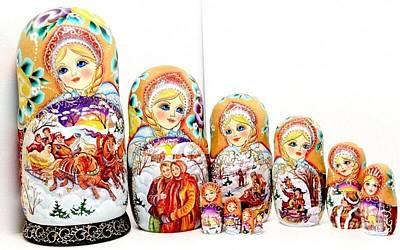 Matryoshka Sculpture - Russian Troika by Viktoriya Sirris