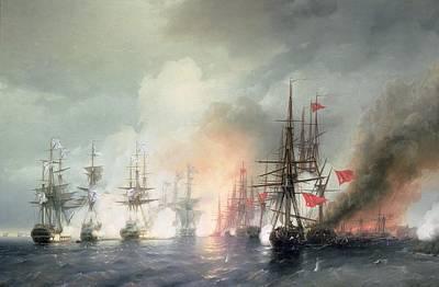 1817 Painting - Russian Turkish Sea Battle Of Sinop by Ivan Konstantinovich Aivazovsky