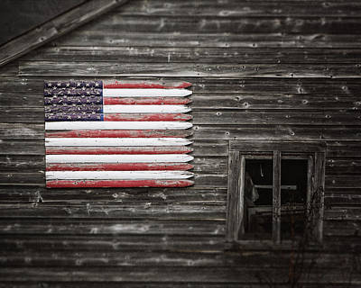 American Photograph - Rustic American Flag On A Weathered Grey Barn by Lisa Russo