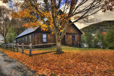 Classic New England Barns Photograph - Rustic Barn In Autumn - Woodstock Vermont by Joann Vitali