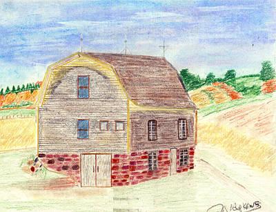 Old Barn Drawing - Rustic Barn by John Hoppy Hopkins