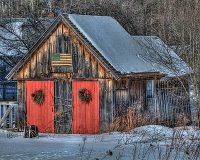 Red Barn In Winter Photograph - Rustic Barn With Flag In Snow by Joann Vitali