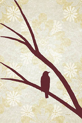 Chickadee Mixed Media - Rustic Bird Art Dark Red Bird Silhouette by Christina Rollo