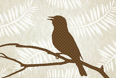 Chickadee Mixed Media - Rustic Brown Bird Silhouette by Christina Rollo