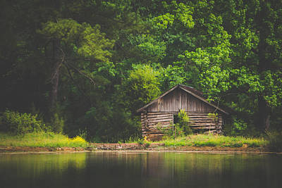Autumn Photograph - Rustic Cabin By The Pond by Shelby Young
