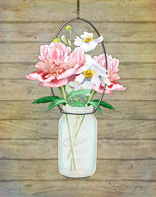 Mason Jars Painting - Rustic Country Peony N Poppy Mason Jar Bouquet On Wooden Fence by Audrey Jeanne Roberts