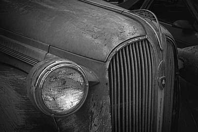 Mascot In Chrome Photograph - Rustic Plymouth B And W by Nick Gray