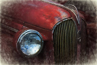 Mascot In Chrome Photograph - Rustic Plymouth Digitally Painted by Nick Gray