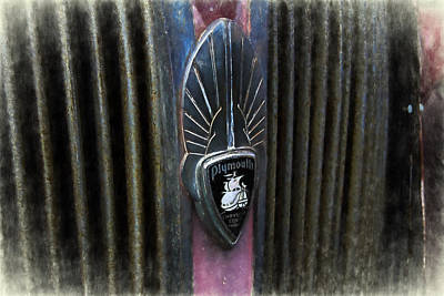 Mascot In Chrome Photograph - Rustic Plymouth Grill Emblem Digitaly Painted by Nick Gray