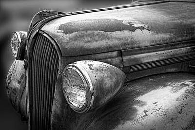 Mascot In Chrome Photograph - Rustic Plymouth Hood Emblem Black And White by Nick Gray