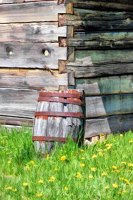 Log Cabin Painting - Rustic Rain Barrel At Old World Wisconsin by Christopher Arndt