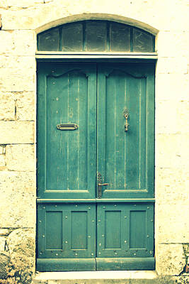 Rustic Teal Green Door Print by Georgia Fowler