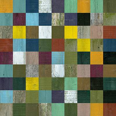 Mosaic Mixed Media - Rustic Wooden Abstract by Michelle Calkins