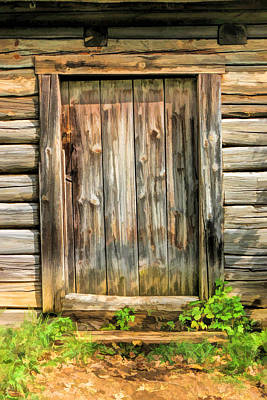 Old Barns Painting - Rustic Wooden Door At Old World Wisconsin by Christopher Arndt