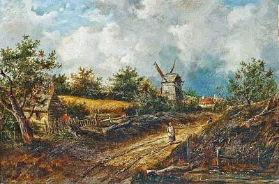 Rustics On A Track Before A Windmill Print by Joseph Thors