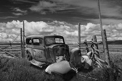 Rusty Auto Wreck Abandoned Out West In Black And White Print by Randall Nyhof