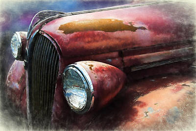 Mascot In Chrome Photograph - Rusty Classic Plymouth Digitally Painted by Nick Gray