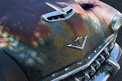 Mascot In Chrome Photograph - Rusty Desoto Hood Ornament And Emblem by Nick Gray