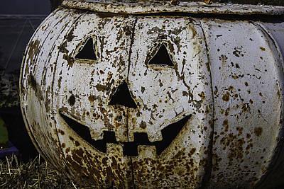 Thanksgiving Art Photograph - Rusty Metal Pumpkin by Garry Gay