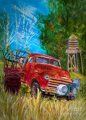 Pigeon Forge Painting - Rusty Truck In Pigeon Forge by Anne Sands