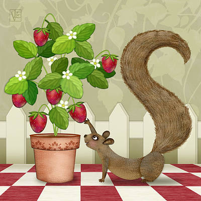 Strawberry Mixed Media - S Is For Squirrel by Valerie Drake Lesiak