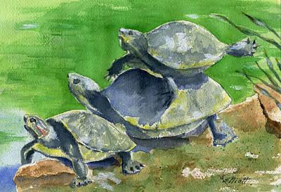 River Turtle Painting - S-t-r-e-t-c-h by Marsha Elliott