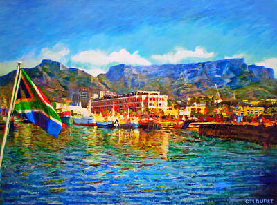 Sa Flag At The Waterfront Print by Michael Durst