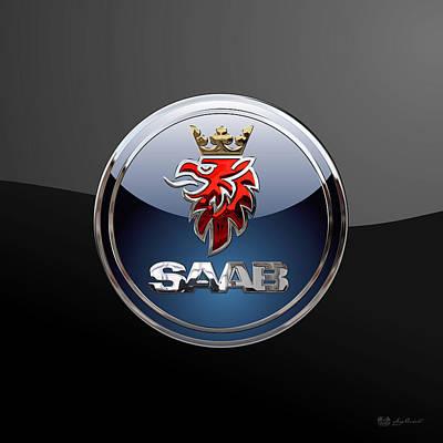 Saab - 3d Badge On Black Original by Serge Averbukh