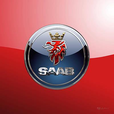 Saab - 3d Badge On Red Original by Serge Averbukh