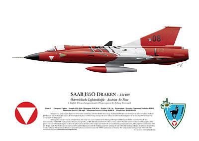 Saab J35o Draken - 351408 - Side Profile View Print by Ed Jackson