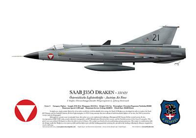 Saab J35o Draken - 351421 - Side Profile View Print by Ed Jackson