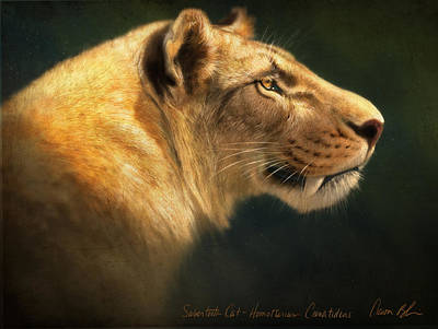 Prehistoric Digital Art - Sabertooth- Homotherium Crenatidens by Aaron Blaise