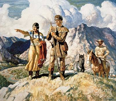Sacagawea With Lewis And Clark During Their Expedition Of 1804-06 Print by Newell Convers Wyeth