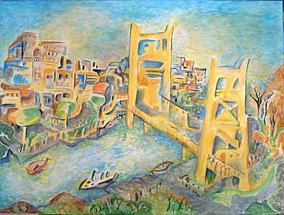 sacramento Bridge Print by Joan Landry