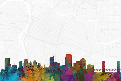California Digital Art - Sacramento Cityscape And Streetmap Skyline by Jurq Studio