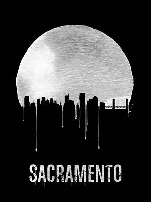 Europe Digital Art - Sacramento Skyline Black by Naxart Studio