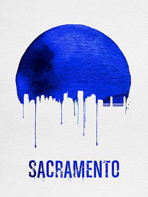 Europe Digital Art - Sacramento Skyline Blue by Naxart Studio
