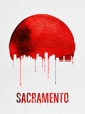 Europe Digital Art - Sacramento Skyline Red by Naxart Studio