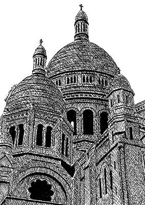 Sacre Coeur Drawing - Sacre Coeur Basilica Paris by Brian Keating