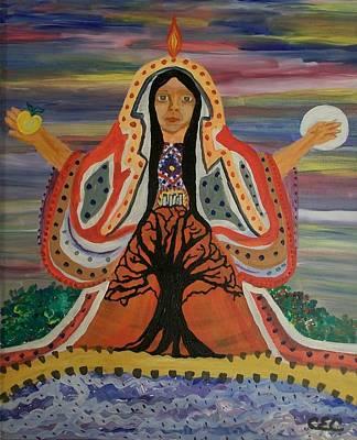 Sacred Feminine Moon Painting - Sacred Feminine by Carolyn Cable