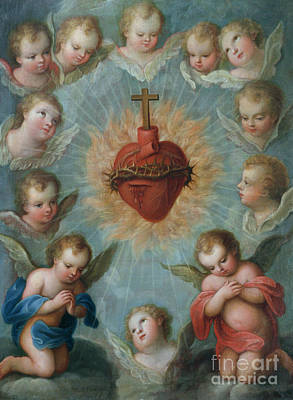 Sacred Heart Of Jesus Surrounded By Angels Print by Jose de Paez